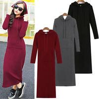 Womens Long Sleeve Ladies Fleece Knitted Long Sweater Jumper Winter Dress Tops