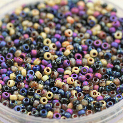 """30gm ~44/"""" 6//0 Lavender Sunset Picasso Mega Mix Japanese seed beads"""