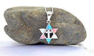 Sterling-Silver-Necklace-amp-pendant-Jewish-Star-of-David-Cross-holyland-israel-Opal