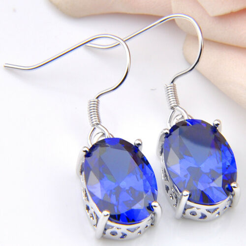 Mystique Swiss Blue Fire Topaz Gemstone Silver Dangle Crochet Boucles d/'oreilles Nouveau