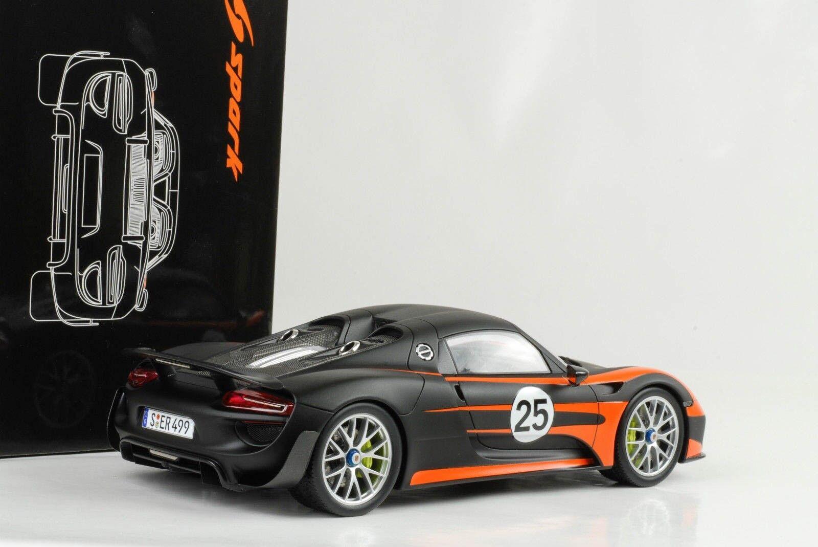 1:18 918 Porsche Weissach Package Orange Mat Noir Noir Noir Spyder fermée Spark | Acheter  c83f07