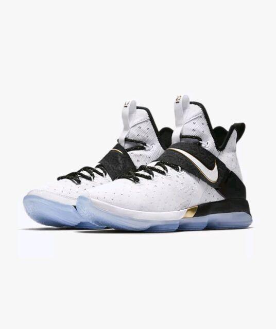 low priced 52e69 9ebfb Nike LeBron 14 XIV BHM White Gold Black Size 10.5 (860634-100) 2017