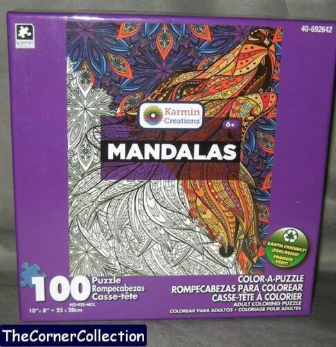 100 PIECE PUZZLE NIB MANDALAS HOWLING WOLF ASSEMBLE /& THEN COLOR