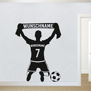 Wandtattoo Fussballer Wunschname Wunschnummer Und Fanschal Kinderzimmer Fussball Ebay