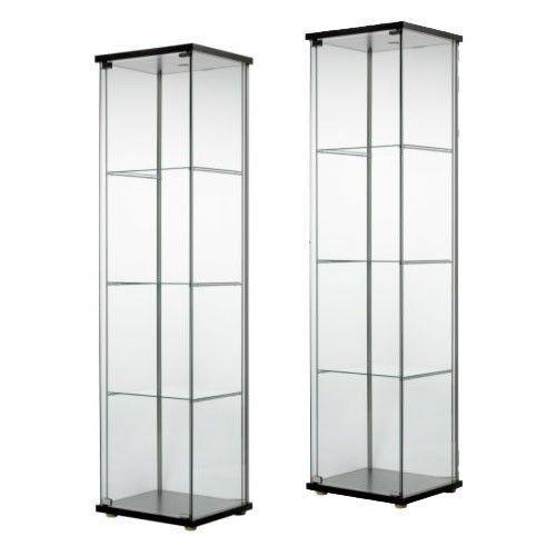 2 Glass Door Display Cabinet Black Retail Boutique Jewelry Showcase