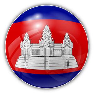 Cambodia Glossy Flag Ball Car Bumper Sticker Decal 5/'/' x 5/'/'