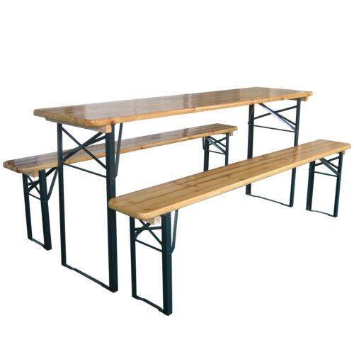 Outdoor Wooden Folding Beer Table Bench Garden Furniture Set Steel Trestle Legs