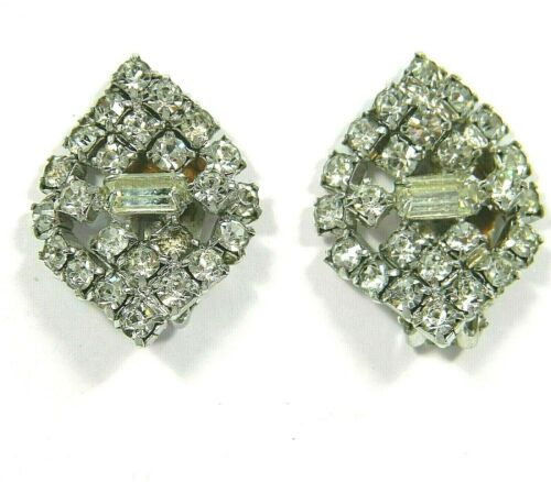Diamante Pin and Earring Set Clear Rhinestone Stick Pin And Clip On Earrings Bridal Jewellery