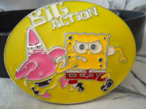 "New Spongebob Squarepants big action Belt Buckle & Belt 4""x3"" Patrick Starfish afficher le titre d'origine"