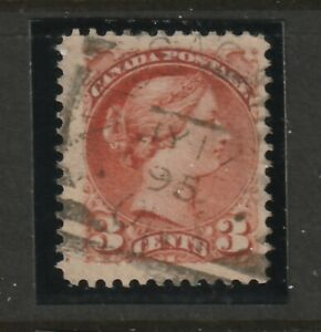 Canada NASSAGAWEYA ON Squared Circle Queen Victoria 3c Small Queen 1895 RF 90