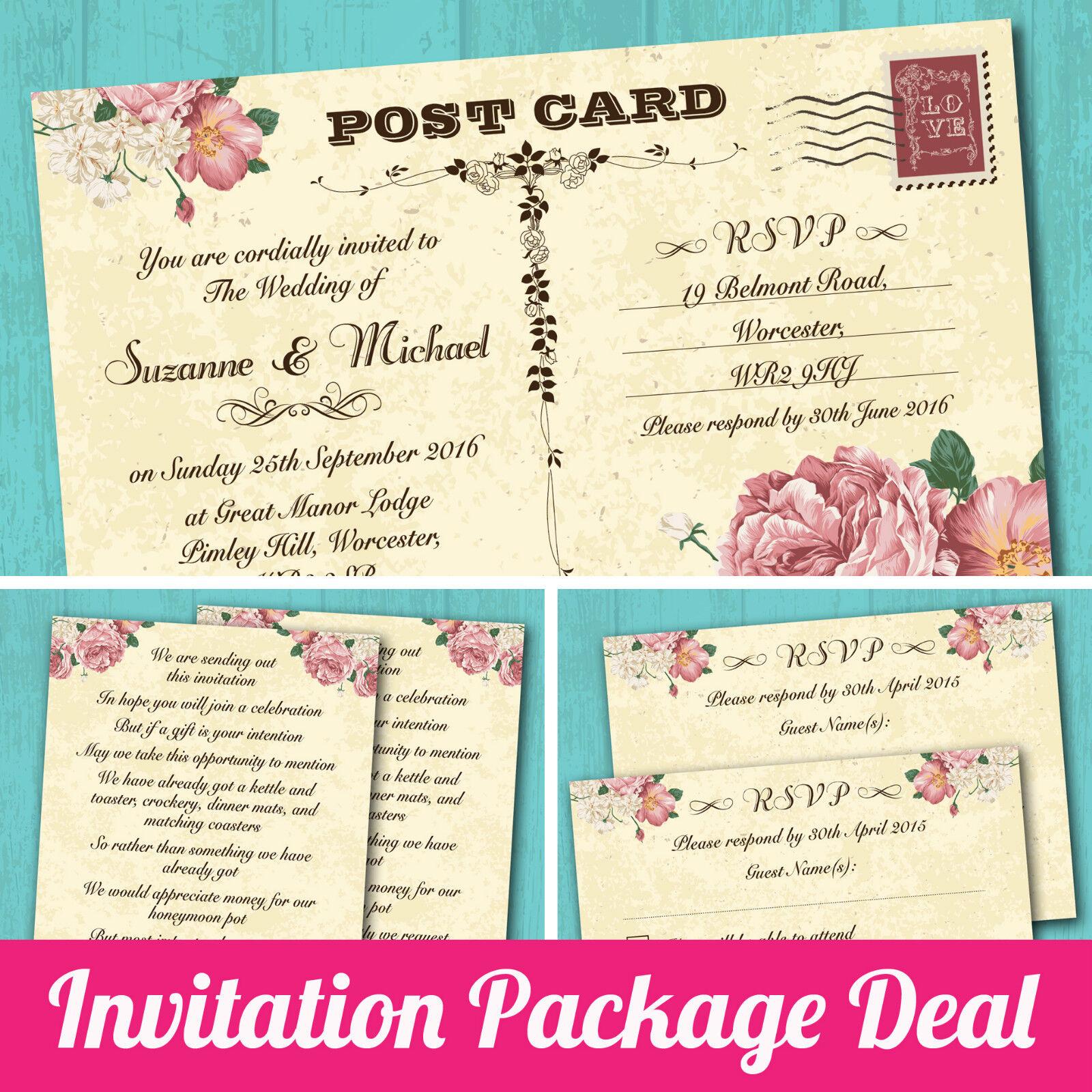 Package Deal: Wedding Invitation, RSVP & Gift Poem - Vintage ...