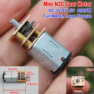 DC3V 5V 6V 40RPM Slow Speed Mini N20 Full Metal Gearbox Gear Motor DIY Robot Car