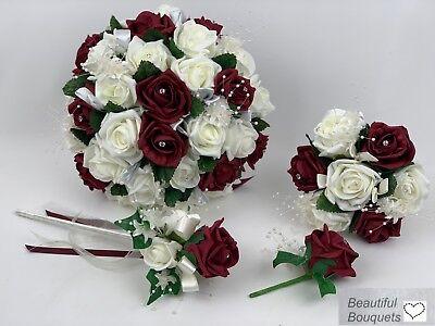 Artificial Wedding Flowers Ivory /& Burgundy Rose Brides Bouquet Posy