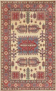 IVORY-4-039-x6-039-Geometric-Super-Kazak-Oriental-Area-Rug-Hand-Knotted-Kitchen-Carpet