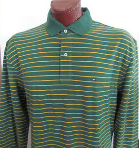 NWT-Tommy-Hilfiger-Long-Sleeve-Polo-Shirt-Green-Yellow-Striped-Sz-S-XL-XXL