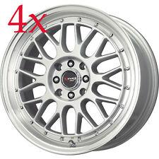 Drag Wheels DR-44 15x7 4x100 4x114.3 Silver Rims for Mini cooper Neon Prius