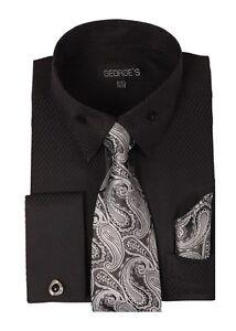 Men-039-s-French-Cuff-Jacquard-Dress-Shirt-w-Tie-amp-Hanky-Set-Cufflinks-619-Black