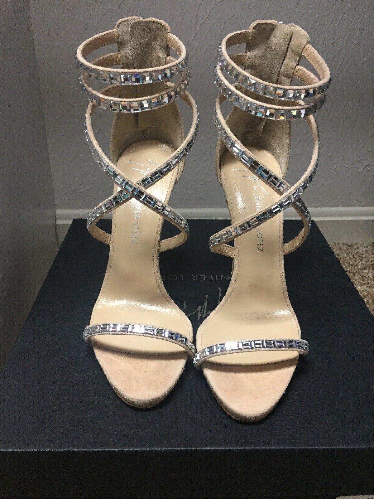 Giuseppe for Jennifer Lopez120 Crystal-Embellished Sandal  Size 36.5  Orig  1495