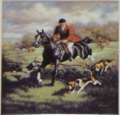 "Man Fox Hunt Equestrian Horse Ceramic Tile 6/"" Kiln Fired Decor Back Splash"