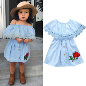 af8b06229 Cute Summer Toddler Girls Princess Kids Lace Baby Party Denim Off ...