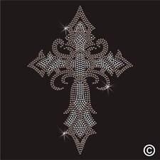Rhinestone Cruz Gótica Diamante Cristal Adorno transferencia hierro en la revisión de Adorno