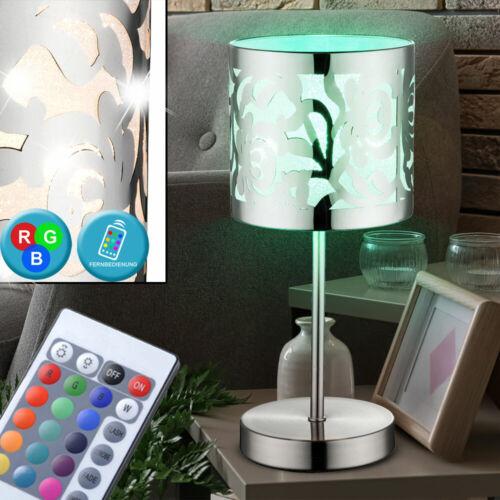 RGB LED Nacht Tisch Lampe Schlafzimmer Leuchte Stanzung dimmbar Fernbedienung