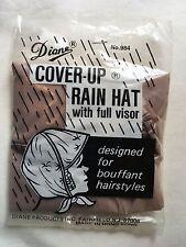 Diane Plastic Cover-Up Rain Hat Bonnet Full Visor For Bouffant Hairstyles Brown