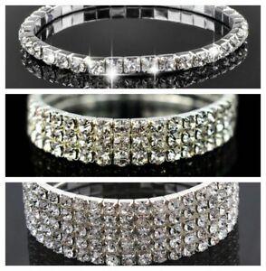 Sparkly-bling-diamante-rhinestone-crystal-silver-stretch-bracelet