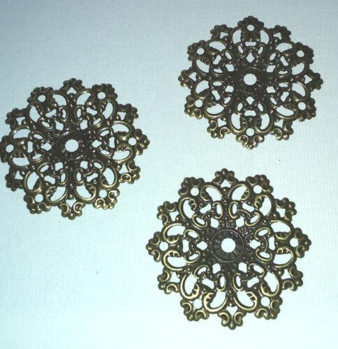 3 x 4.7cm Ø ANTIQUE BRONZE TONE Raised Circles MEDIUM FILIGREE EMBELLISHMENTS