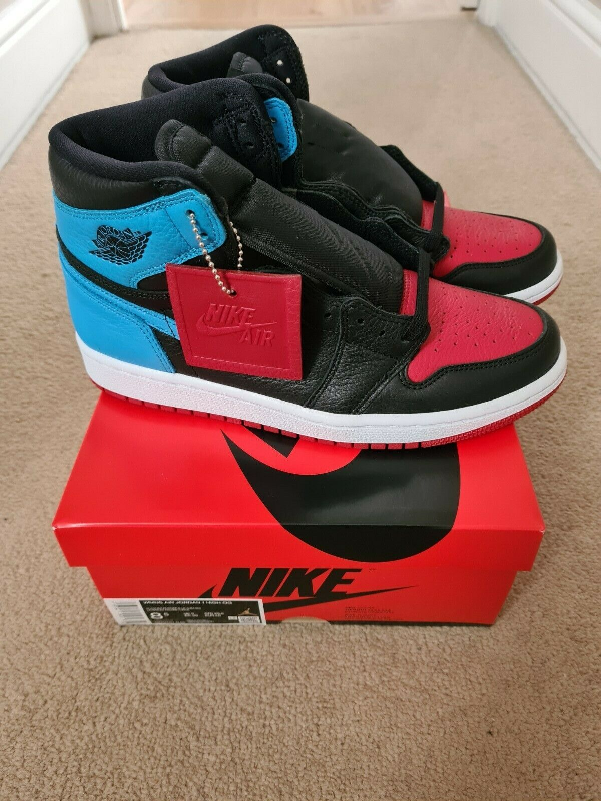 Jordan 1 Retro High UNC to Chi Leather (W) UK 6 Brand New (FACTORY DEFECT)