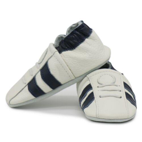 carozoo sports dark blue stripe white 6-12m soft sole leather baby shoes