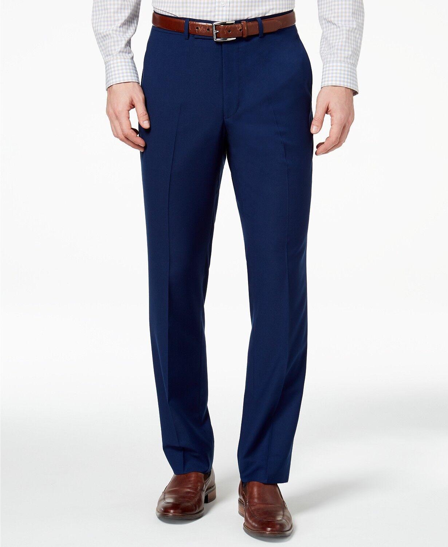KENNETH COLE 29W X 32L men's blueE SLIM FIT FLAT FRONT SUIT DRESS PANTS