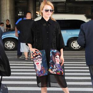 New-Womens-Floral-Print-Fashion-Shirt-Dress-Buttons-Collar-Loose-fit-Maxi-Dress