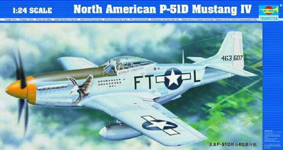 1 24 American P-51D Mustang Warplane Static Fighter Trumpeter 02401 Warcraft Kit