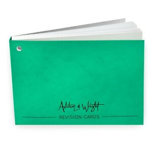 Ashton-amp-Wright-Revision-Cards-Book-Gummed-Spine-50-Sheets-Green-Cover