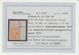 V-au-Postal-21-A-r4H-Verifie-Hettler-avec-Expertise-Bord-Anguleux