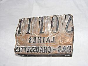 Frances-Antiguo-Publicidad-Lana-Tallada-Estampado-Tipografia-Block-039-Chaussettes-039
