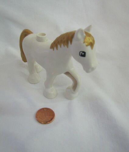 Lego Duplo PRINCESS WHITE HORSE Animal for ROYAL CASTLE Gold Mane /& Tail #3