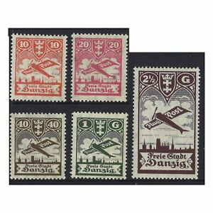 Danzig-1924-Airmail-Stamps-Planes-MUH-Set-of-5-Michel-202-6-3-6