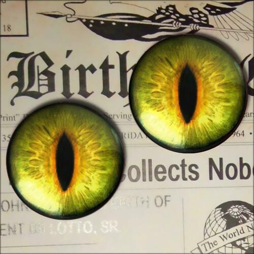 Glass Cat Eyes Realistic Yellow Green Taxidermy Eyeball 12mm Set