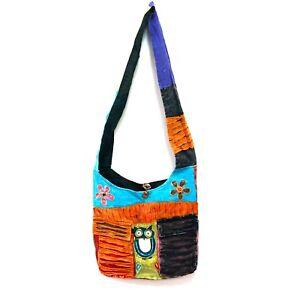 024157efd65 Owl Cotton Cross Body Bag Nepal Handmade Patchwork Hippie Boho Gypsy ...