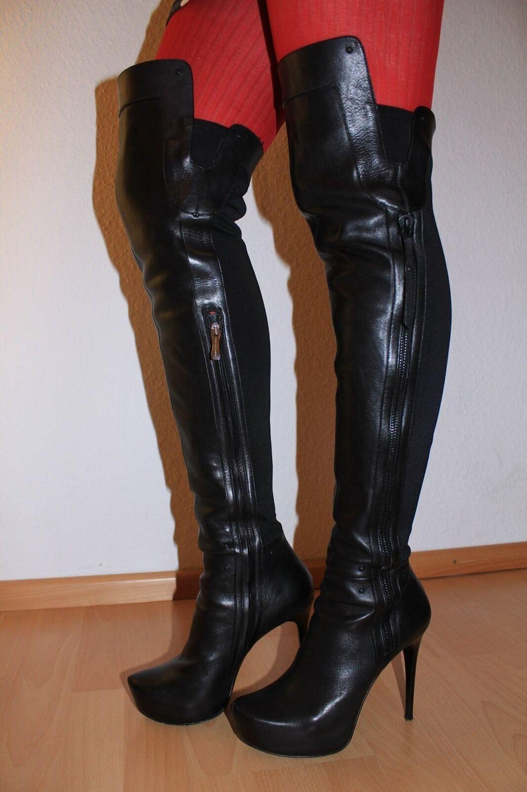 Gianmarco Lorenzi  botas WETLOOK WETLOOK WETLOOK GR 38,5 Designer overknie cuero negro  ventas en linea