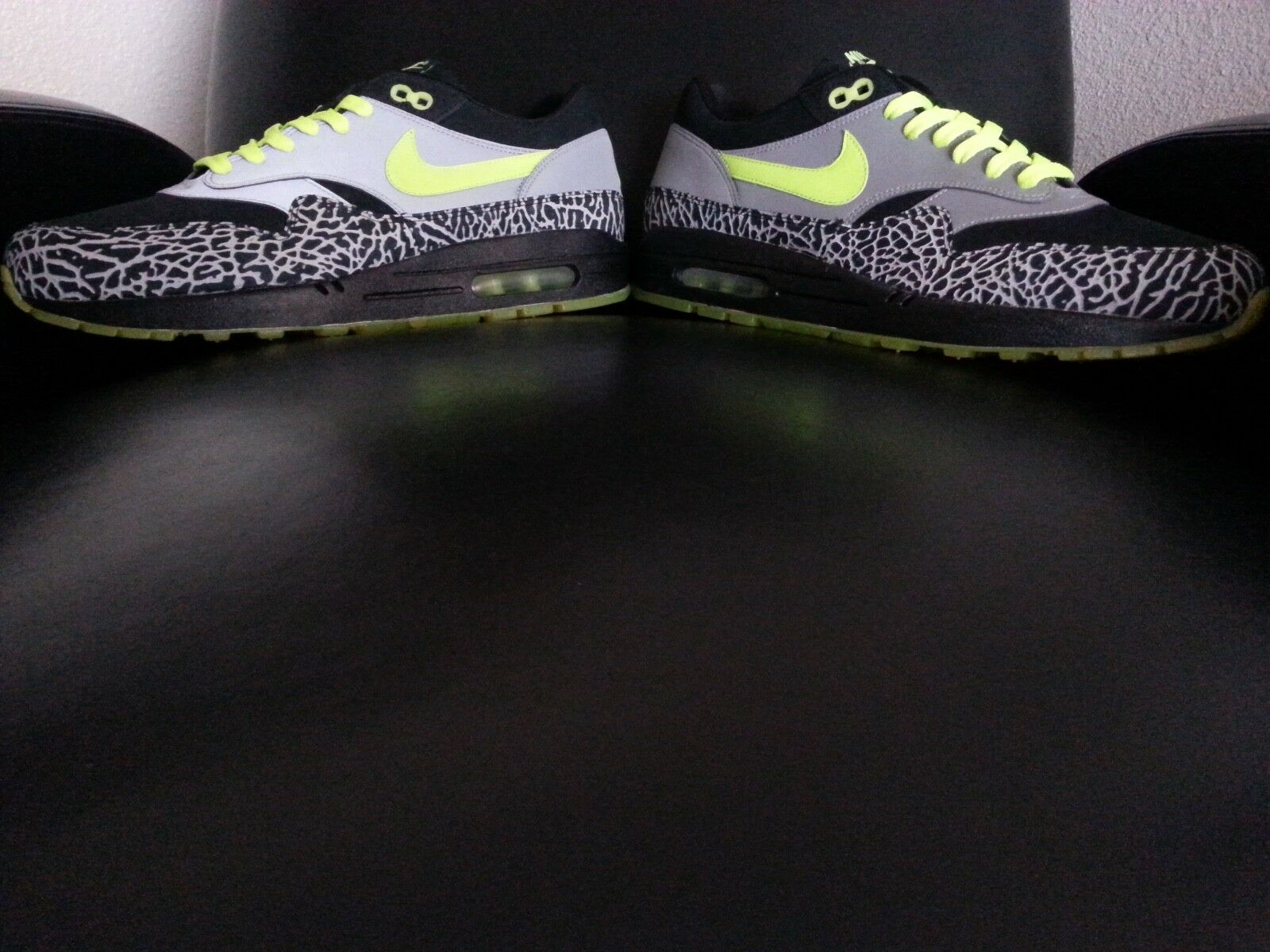 Nike Air Max 1 Premium 2008 DJ Clark Kent 112 Black Neon Yellow Size 10.5 (New )