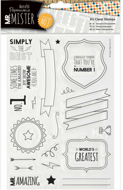 Docrafts Papermania clear rubber stamp set Mr Mister Trophy best dad Fathers day