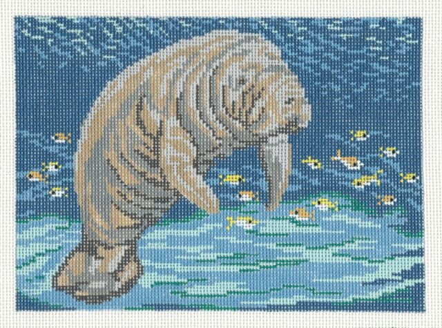 Needle Crossings Florida Manatee handpainted Needlepoint Canvas for Insert