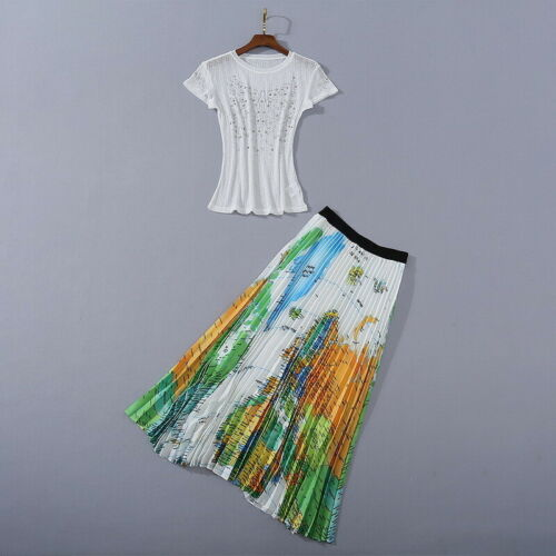 Map Pleated Skirt Suit 2020 Womens Designer Inspired Luxury Sequined Star Top