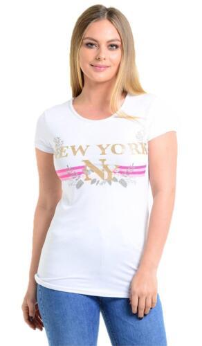 Da Donna Designer Inspired Donna New York Stampato Manica Corta Slogan T-Shirt Top