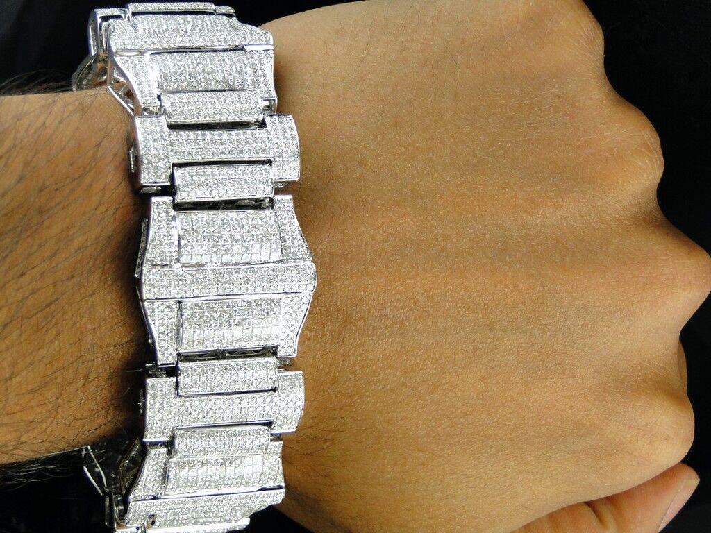 Da Uomo Uomo Uomo XXL oro Bianco Diamante Taglio Princess Bracciale 30 Kt ba5396