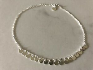 Genuine 925 Sterling Silver Discs Flat Circles Chain  Anklet Girls Child Women
