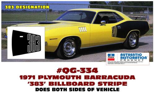 DECAL QG-334 1971 PLYMOUTH BARRACUDA STENCIL 383 BILLBOARD SIDE STRIPE